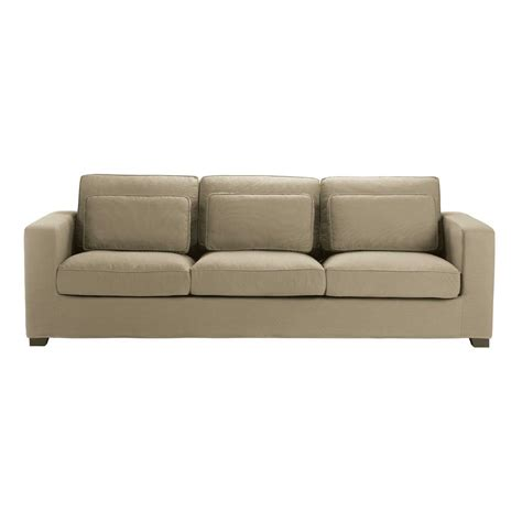 cotton sofas 4 seater cotton sofa in taupe milano maisons du monde