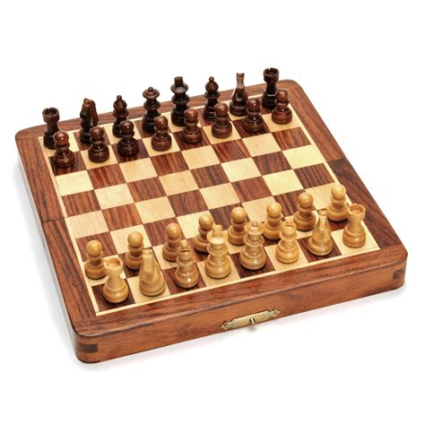 wooden chess set 7 inch wood magnetic folding chess set wood expressions