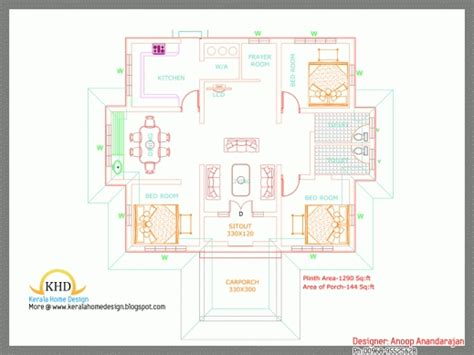 kerala home design 1600 sq feet marvelous floor house plan and elevation 1290 sq ft kerala