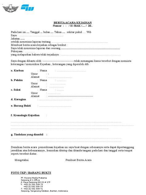 Contoh Surat Kronologi by Contoh Berita Acara Kejadian
