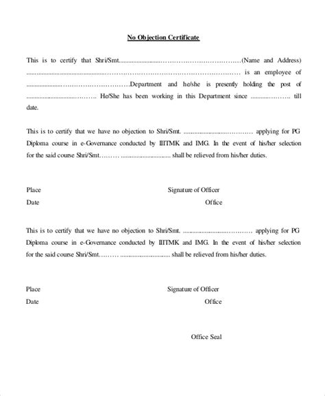 no template no objection certificate template 12 free word pdf