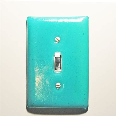 bathroom light switch covers fused glass light switch plate iridescent light turquoise