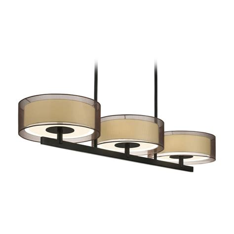 Drum Shade Island Lighting Modern Drum Island Light With Brown Shades In Black Brass Finish 6001 51 Destination Lighting