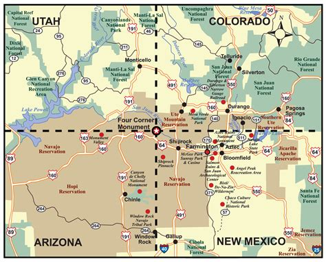colorado and new mexico map the southwest through wide brown if two routes merge