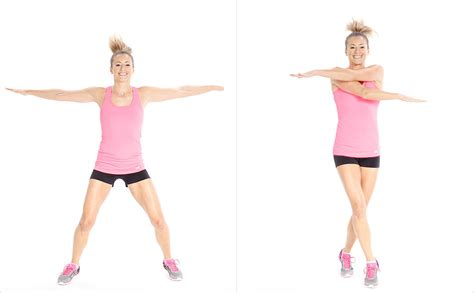 arm crossover swings home cardio workout no running popsugar fitness