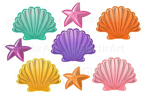 Hq 12686 Starfish Print Shirt seashell clipart sea shell clipart for personal and