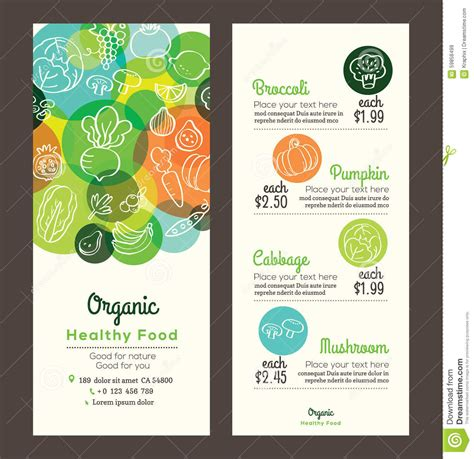 healthy menu template organic healthy food with fruits and vegetables menu flyer