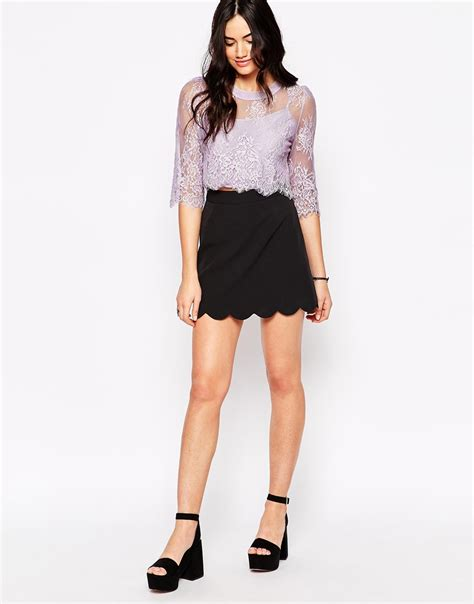 candela clothing lyst candela nyc candela sheer lace crawley top in purple