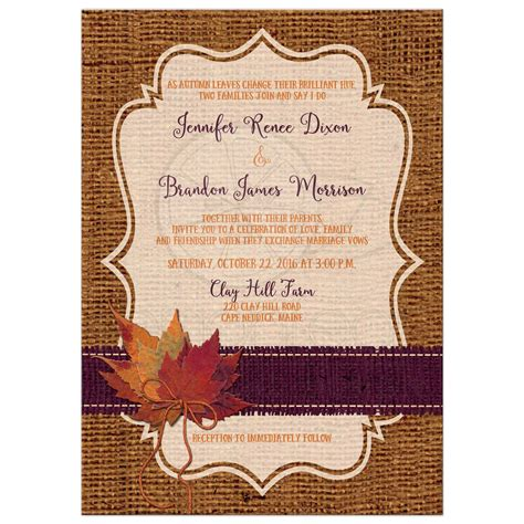Autumn Wedding Invitations by Autumn Wedding Invitation Dried Leaves Faux Burlap And