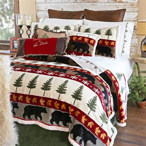 bear comforter woodland trails bear ultra plush bedding collection
