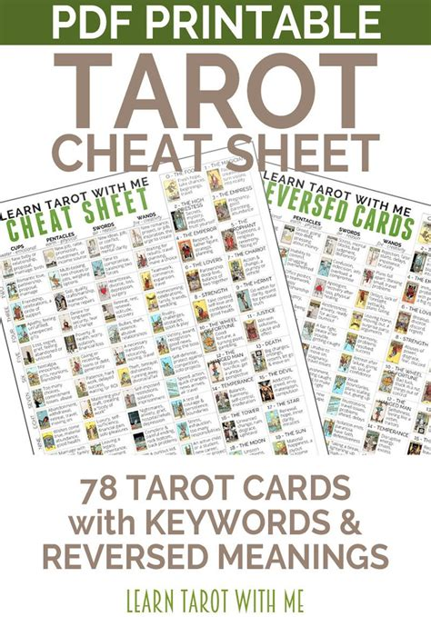 Tarot Card Reading Templates Free by Tarot Card Sheet A Tarot Printable For Divination And
