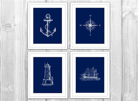 Ship Bathroom Decor Navy Nautical Set Of 4 Prints Navy From Bysamantha Epic