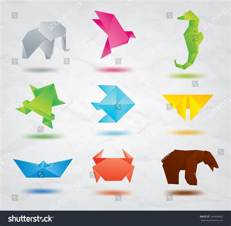 set of origami animals symbols elephant bird sea
