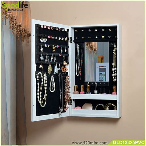 mirrored living room cabinet living room furniture wall mount wooden mirrored jewelry
