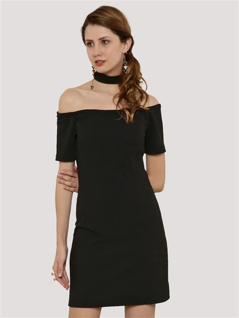 Dress Fashion Black Wafel buy ridress waffle textured choker dress for s black con dresses in india