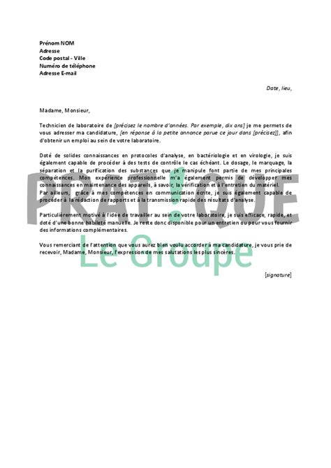 Lettre De Motivation De Technicien Application Letter Sle Exemple De Lettre De Motivation Pour Un Emploi Technicien