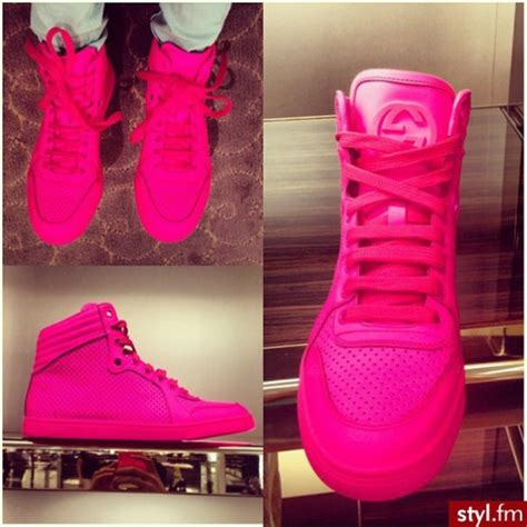 shoes neon pink sneakers gucci wheretoget