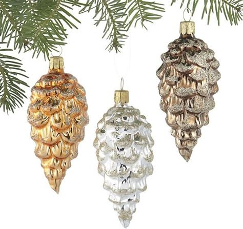 glitter glass pinecone ornaments traditional christmas