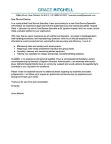 customer service specialist cover letter best food service specialist cover letter exles