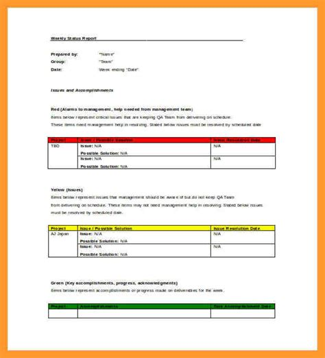 employee status report template status report template 8 best project status report