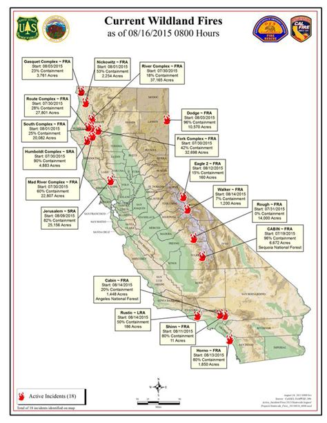 map of fires in california cal sunday morning august 16 2015 report on