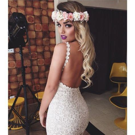 Wedding Hair Up Or With Backless Dress by Lace Dress White Backless Dress Flower Crown Make