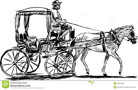 draw horse illustrator horse drawn carriage stock vector illustration of going