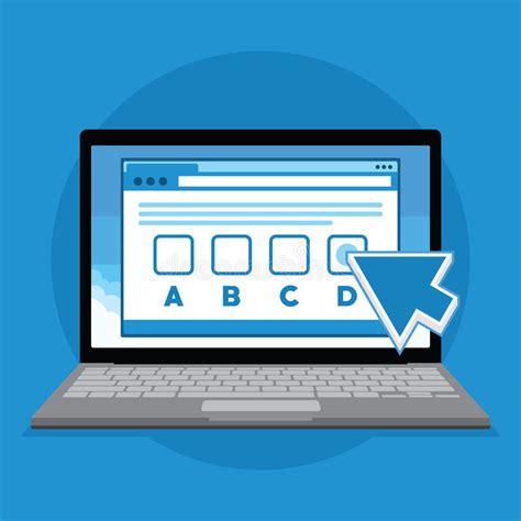 design online exam online exam test with laptop illustration stock vector