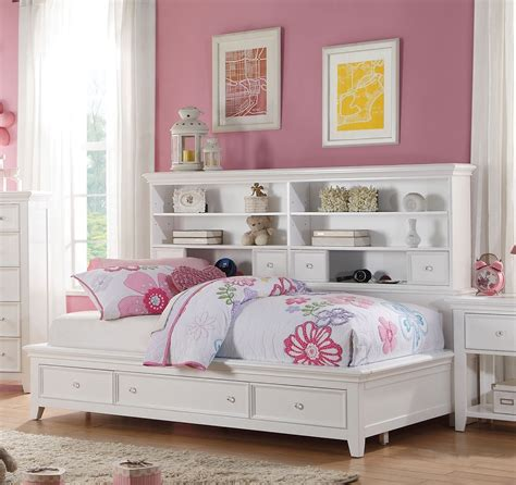 Lacey White Storage Twin Bookcase Daybed White Daybed With Bookcase