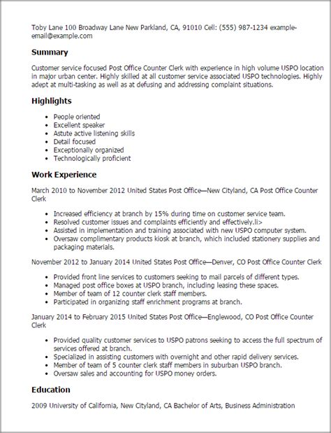 resume format counter salesman professional post office counter clerk templates to