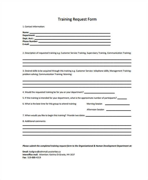 training request form template pictures to pin on