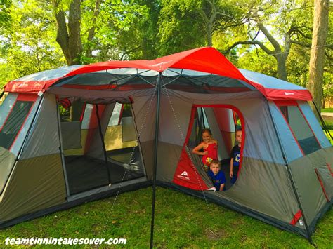 ozark trail 12 person instant cabin tent with screen room ozark trail 12 person l shaped instant cabin tent review team tinnin takes