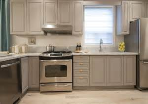Small Cabinets For Kitchen Small Kitchen With Gray Cabinets And Shiny Brass Hardware