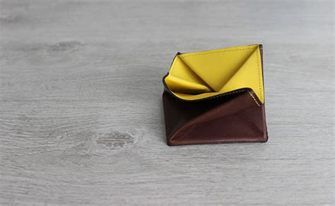 Origami Change Purse - origami leather coin purse row brown and yellow leather
