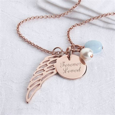 personalised or yellow gold wing necklace by
