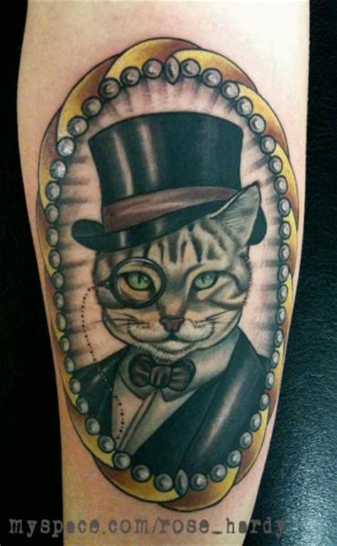 Arm Cat Medallion Tattoo By Rose Hardy Tattoo School Cat Tattoos