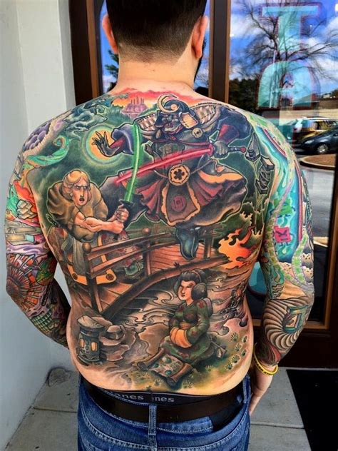 star wars back tattoo depicts characters in feudal
