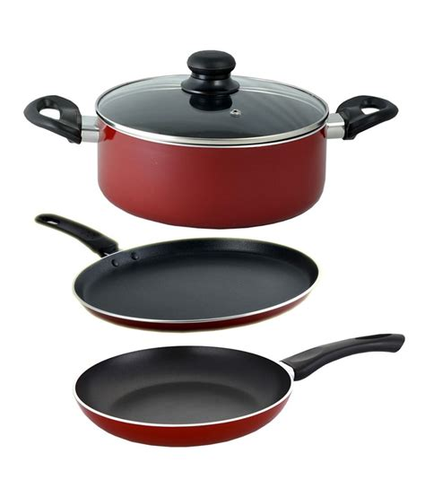 5 Pcs Non Stick Cookware Set reona maroon aluminium 5 ltrs non stick cookware set 4 pcs buy at best price in india