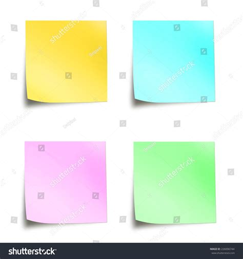 Post It Note Memo Sticky Stick Notes Pastel Rainbow Color four pastel colored sticky notes isolated stock photo