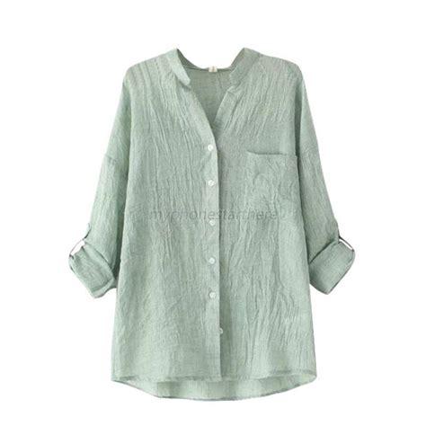 Linen Cotton Blouse chic sheer cotton casual blouse sleeve linen