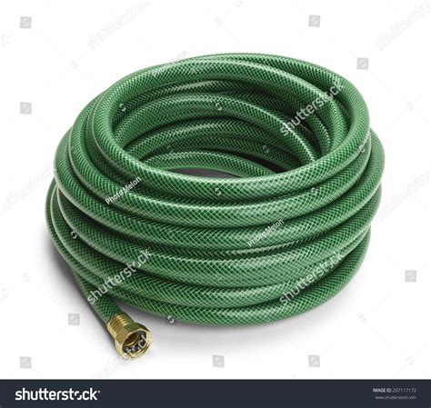 green garden hose rolled isolated  stock photo