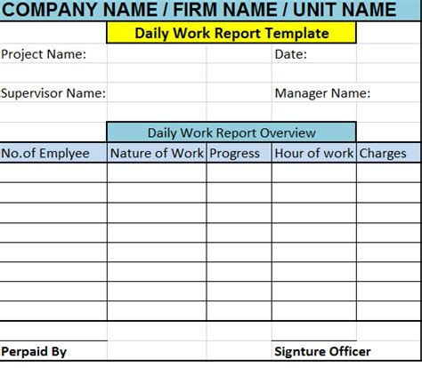 daily work report template free report templates