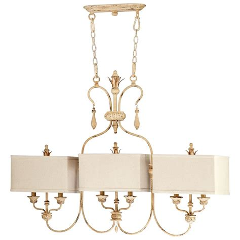 Country Island Lighting Maison Country Antique White 6 Light Island Chandelier Kathy Kuo Home