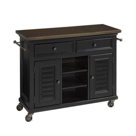 Kitchen Cart Antique Home Styles 44 5 In W Antique Stainless Top Kitchen Cart