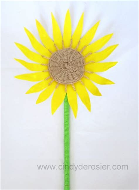 Sunflower Paper Craft - paper plate sunflower family crafts