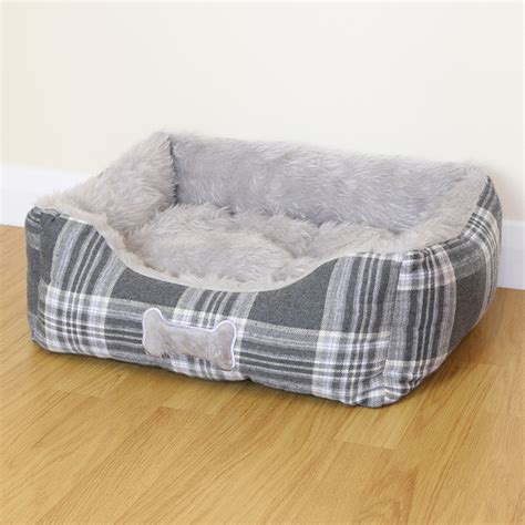grey dog bed small grey check super soft luxury dog puppy cat pet bed