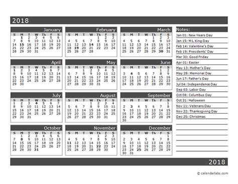Calendar 2018 12 Months 12 Month One Page Calendar Template For 2018 Free