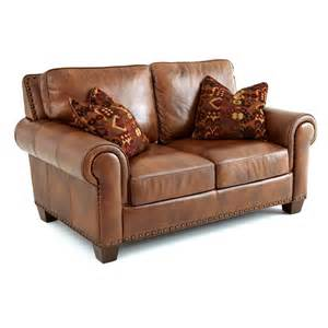 Steve silver silverado leather loveseat with 2 accent