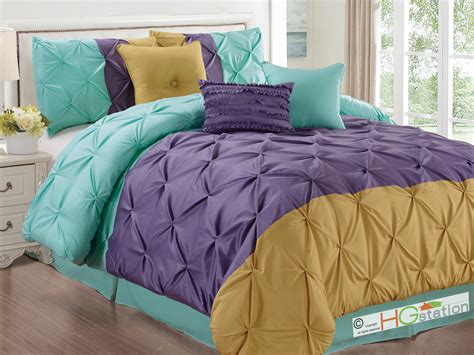 blue pintuck comforter 7 pc diamond ruched pinched ruffled pintuck comforter set