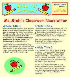 School Newsletters Templates by Sle Classroom Newsletter 5 Documemts In Pdf Word